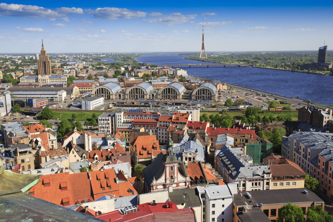 View of Riga skyline towards TV tower